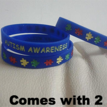 Two AUTISM AWARENESS Rubber Silicone Bracelets