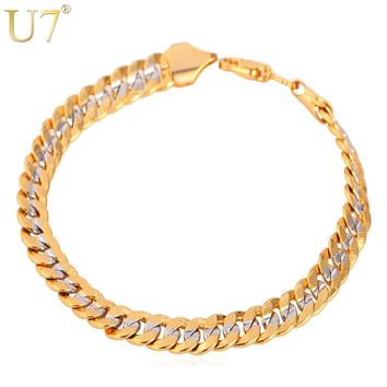 U7 Two Tone Gold Color Bracelet Men Jewelry Wholesale Trendy 6MM 21CM Cuban Chain Bracelets For Men/Women H594