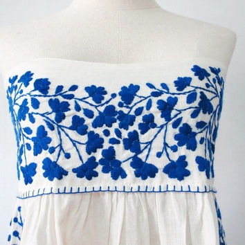 Mexican Embroidered Sundress Natural Cotton Strapless by chokethai