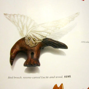 """Eagle Brooch Carved Wood Reverse Carved Lucite Bird Pin Book Pc 3 1/4"""""""