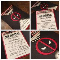 Folder Wedding Invitation -- Deadpool Wedding Invitation -- Red and Black Wedding Invitation