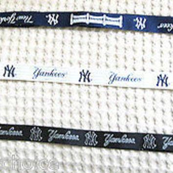 New York Yankees 3 Detachable Lanyards-Blue Stadium,White Pin Stripes,Blackout