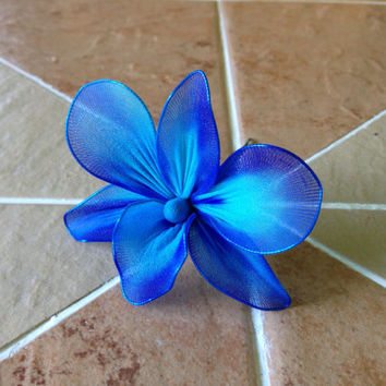 Royal Blue and Turquoise orchid SINGLE flower stem, nylon flowers, weddings decoration, parties