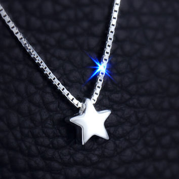 925 sterling silver tiny star necklace , fashion simple tiny star necklace, a perfect gift