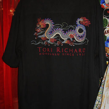 Amazing Vintage Hawaiian Shirt TORI Richard EMBROIDERY Dragon Size L Silk