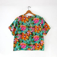 vintage silk shirt. boxy silk blouse. cropped silk shirt. floral silk top. tropical silk top.