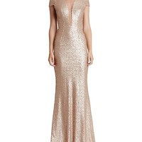 Dress the PopulationMichelle Illusion-Neck Sequin Gown