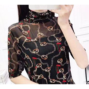 GUCCI Summer New Fashion More Letter Print Women Top Black