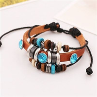 Multi Row Adjustable Leatherette Wrap Bracelet - Boho Style