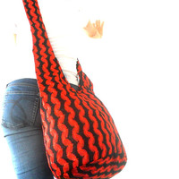 Sling Bag Hobo Bag Boho Bag Hippie Bag Crossbody Bag  Bohemian Bag Embroidery Bag Messenger Bag Black Red color Bag Thai Gift Bag Handbags