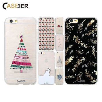 CASEIER Winter Christmas Case For iPhone X 8 7 6 6s Plus 5 5S SE Snowman Back Cover For Samsung Galaxy Note 8 S8 Plus S6 S7 Edge
