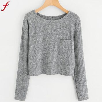 FEITONG Fashion Womens Sweatshirts Long Sleeve O Neck Pocket Sweatshirt Casual Solid color Pullover Elegant Casual Tops Tumblr