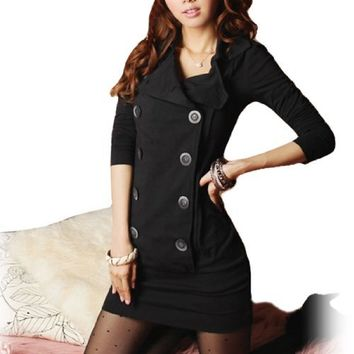 Allegra K Women Long Sleeve Fitted Casual Mini Shirt Dress
