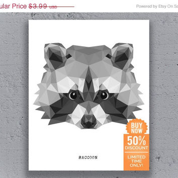 Raccoon Printable Poster Typography Geometric Print Black White Wildlife Polygon Animal Art Retro Art Print Instant Download Digital Print