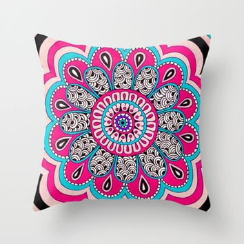 Mod Flower Throw Pillow by PeriwinklePeacoat
