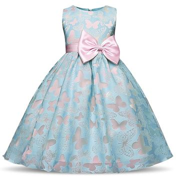 Hollow Butterfly Kids Girl Flower Girls Dress Princess Party Pageant Formal Prom Gowns Little Baby Girl Birthday Party Clothes