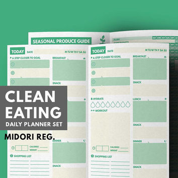 Daily Planner Clean Eating for Midori Insert, Meal planner Midori Refill, Midori Traveler's Notebook, Healthy Eating Set, Health Planner