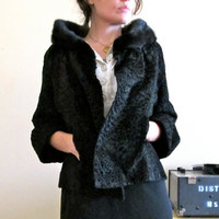 1950s Persian Lamb Coat with Mink Collar  Size by GinnyandHarriot
