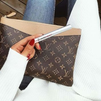 LV tide brand women's simple color matching zipper handbag clutch bag