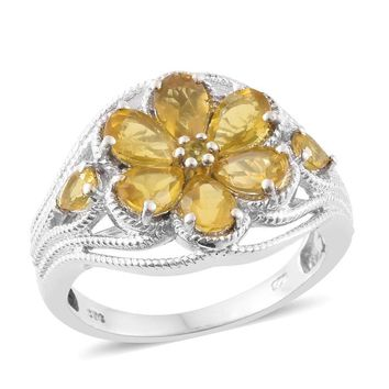 Canary Opal Platinum Over Sterling Silver Floral Ring