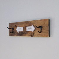Rustic Wall Decor, Wedding Gift, His and Her Towel Rack, Rustic Wood Signs, Home Decor, Wall Decor, Reclaimed Wood, Bathroom, Towels