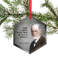 Famous Scientists Sigmund Freud Glass Christmas Ornament