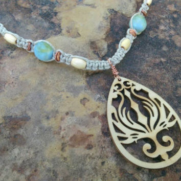 Hemp and Wood Necklace, Filigree Wood Pendant, Hemp Can Save the Planet, Gift for Her, Boho Style, Hemp Necklace, Gift