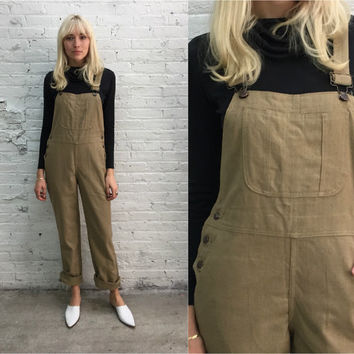 vintage beige linen overalls / natural taupe overalls
