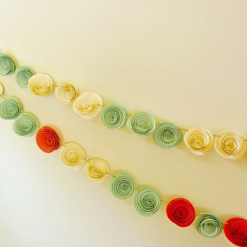 Wedding Garland Paper Flowers garland Mint and Coral 10 feet