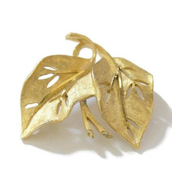 BSK Textured Leaf Brooch Pin, In Gold Tone, Designer Signed