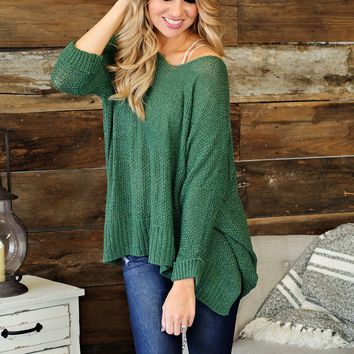* Cant Stop This Feeling Knit Oversided Sweater: Green