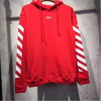 OFF WHITE Classic Hooded Fashion Print Top Sweater Hoodie