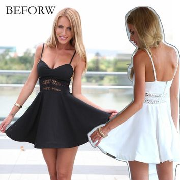 BEFORW Summer Stitching Lace Halter Suspenders Big Swing Party Dress Women