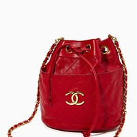 Vintage Chanel Red Leather Bucket Bag