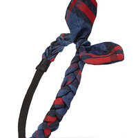 FOREVER 21 Braided Plaid Headwrap Dark Blue/Red One