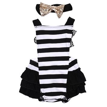 Summer Infant Kids Baby Girls Backless Clothes Lace Stripe Sleeveless Jumpsuit Bodysuit + Headband Outfits Clothing