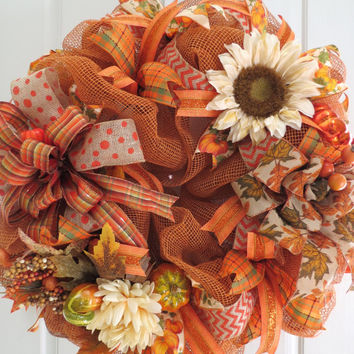 Fall Mesh Wreath, Autumn Wreath, Thanksgiving Wreath, Holiday Wreath, Front Door Wreath,Harvest Wreath, Mesh Wreath, Wreath,Pumpkin Wreath