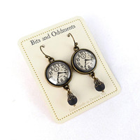 Black and White Clock Face Earrings