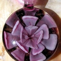 Pink Flower Murano Style Glass Round Pendant - Special Offer Price