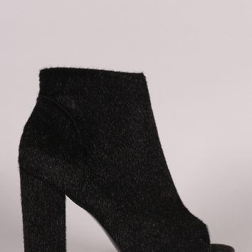 Vegan Calf Hair Ankle Boots