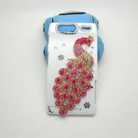 Handmade hard case for Motorola  DROID Razr XT910: Bling peacock (custom order are welcome)