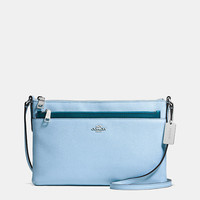 CROSSBODYwith pop-up pouchin crossgrain leather