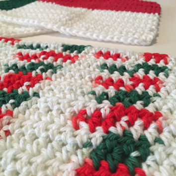 Christmas Dishcloths (Set of 3) Crocheted - Green - Red - White - Cotton - Eco friendly - Handmade - Kitchen Washcloth