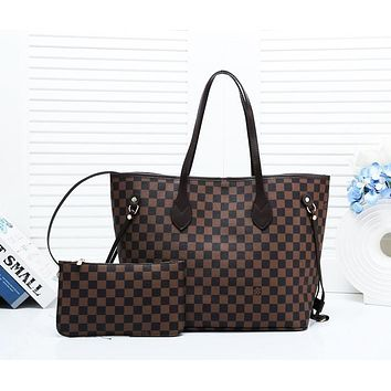 LV 2019 new lining hook female classic old flower shopping bag shoulder bag two-piece Coffee check