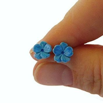Tiny Blue Sakura Flower Polymer Clay Stud Earrings