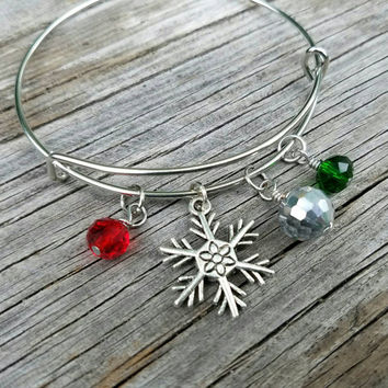 Holiday bangle bracelet - sparkly jewelry with Christmas flair! Perfect accessory for holiday parties and gifting - snowflake charm bracelet