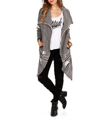 Charcoal/Ivory Chunky Knit Sweater