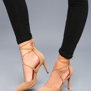 Marie Taupe Suede Lace-Up Heels
