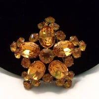 Vintage Star Flower Yellow Orange Topaz Brooch Glass Rhinestone Gold Plate Domed Pin