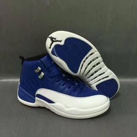 Air Jordan 12 Retro AJ12 White/Royal Blue Men Basketball Shoes US7-13